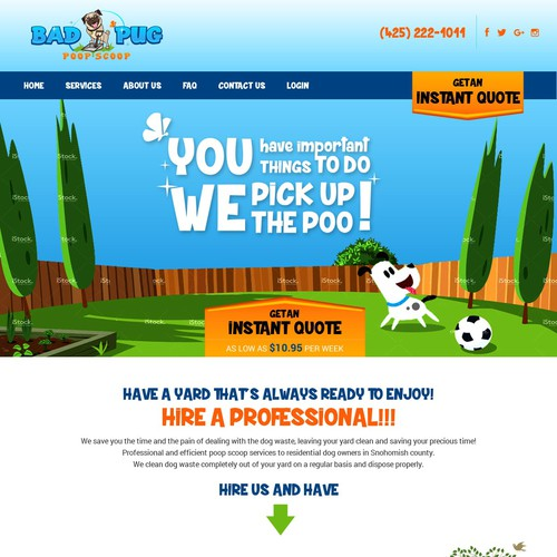 A web page designed for a poop scoop company