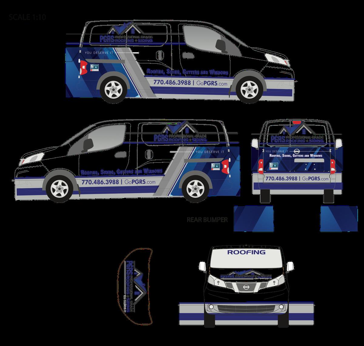 Edit current van wraps and design new box truck wrap