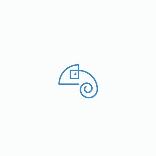 One stroke chameleon logo