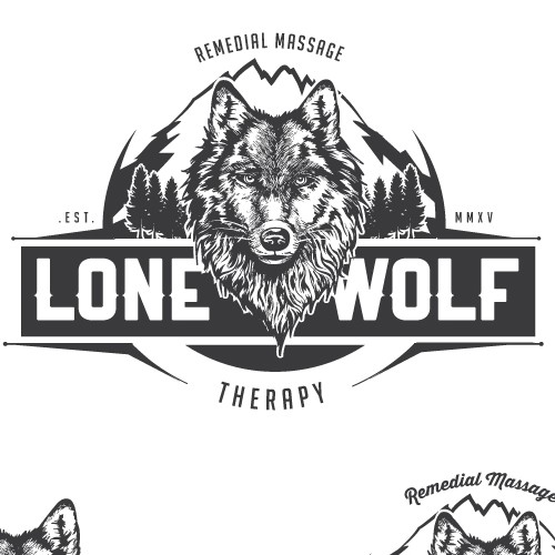 Bold vintage logo for a Lone Wolf, a massage therapist