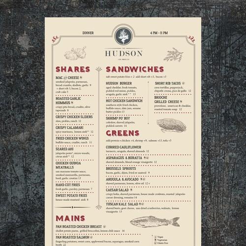 Casual, upscale restaurant menu