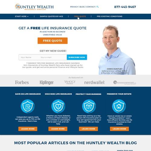 Website design concept for financial advisor