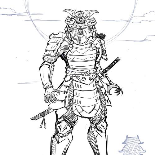 samurai warrior lion head