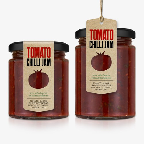 Tomato Chilli Jam label & tag
