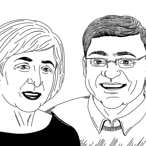 Illustration of an elderly couple