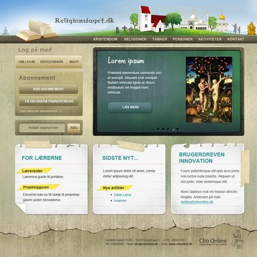 website design for Religionsfaget.dk (translated: Religion studies)