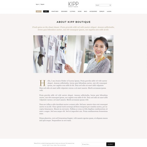 """About Us"" page for fashion curator"