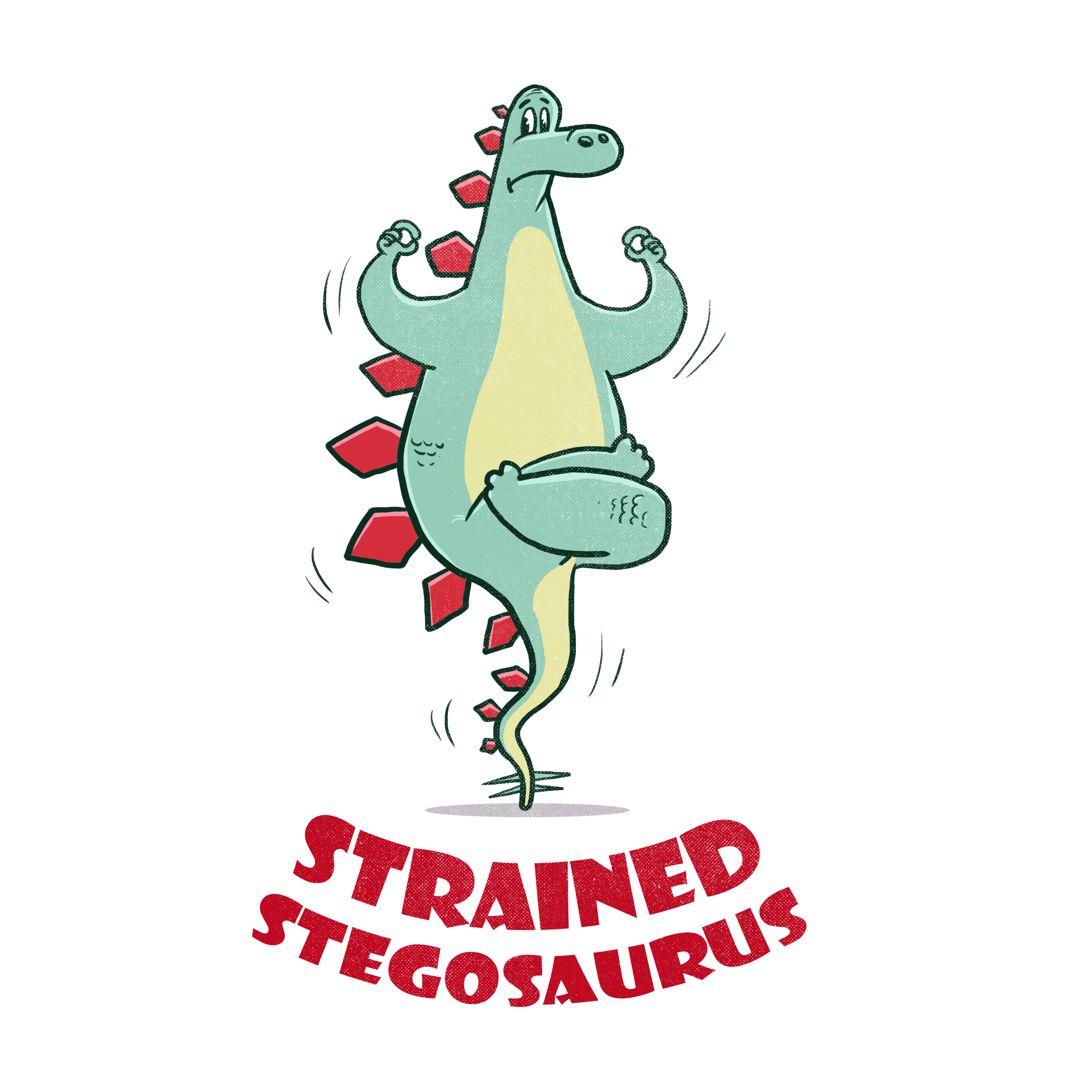 A Stegosaurus straining and struggling to do yoga. Design a T-Shirt for our animal fitness company.