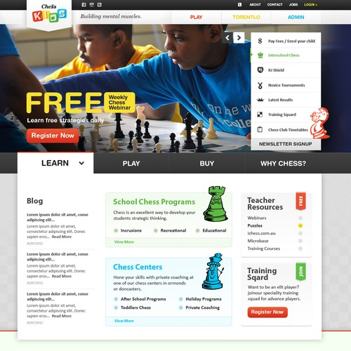 Create the next website design for Chess Kids