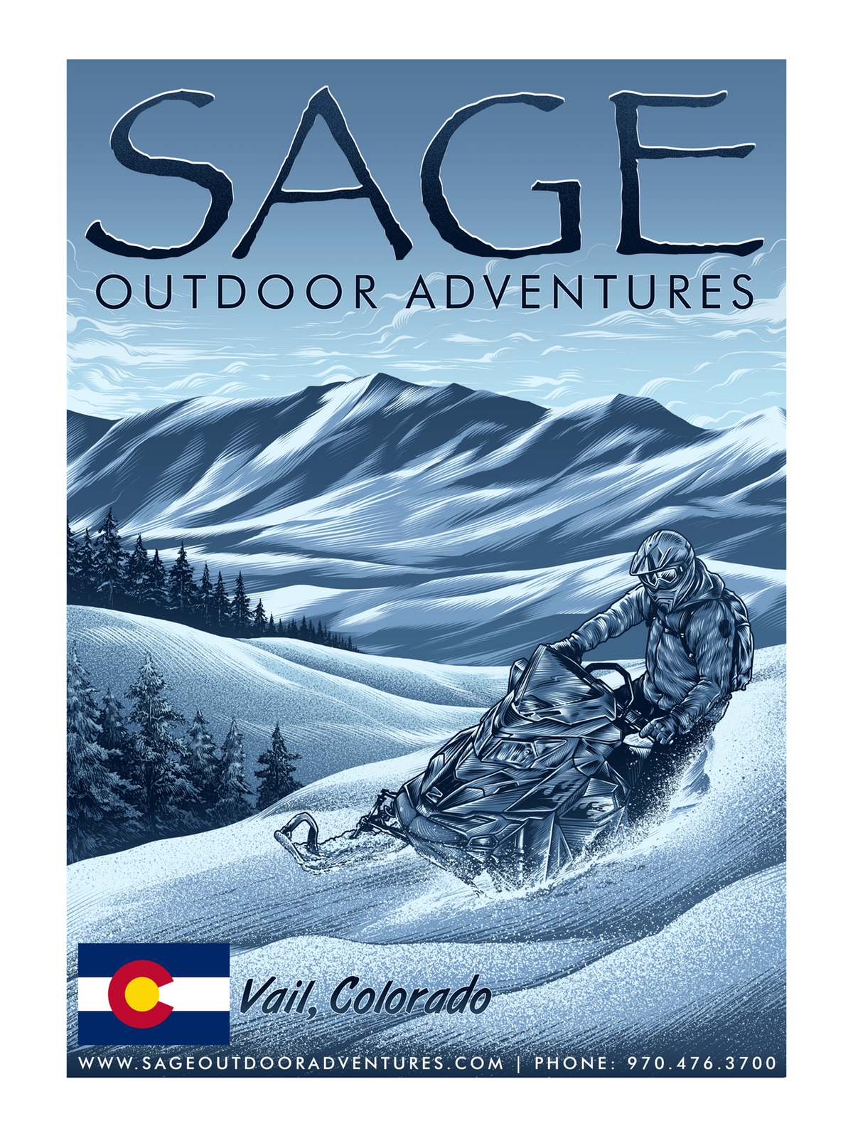 Sage Snowmobile T-Shirt / Hoodie Design