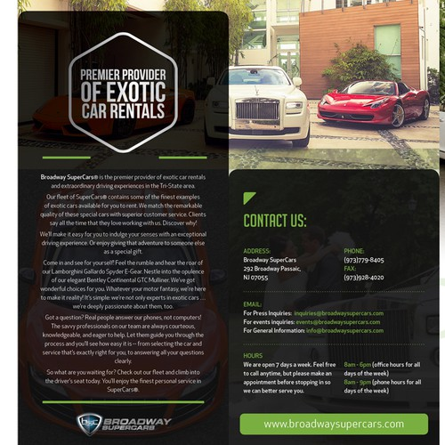 Exotic leaflet for exotic car rental company