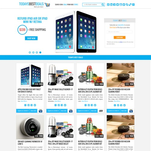 Shopping experience needs creative and stylish langing page