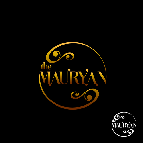 Circular luxurious logo for The Mauryan