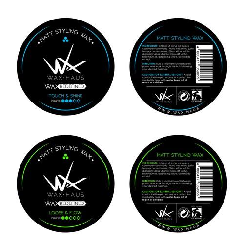 Hair wax label design for WAX.HAUS