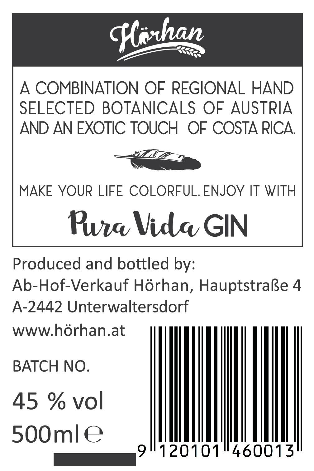 Create a bottle label for Pura Vida Gin