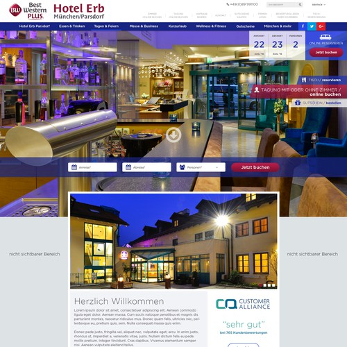 Webdesign for a hotel