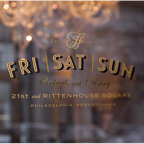 Create a vintage inspired logo for a cocktail bar and restaurant in Philadelphia