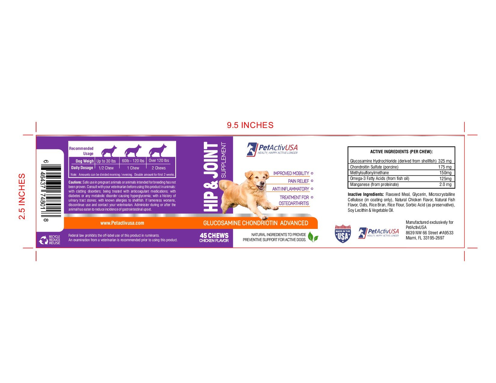 label & Logo for Pet supplement for Active, Healthy, Happy dogs