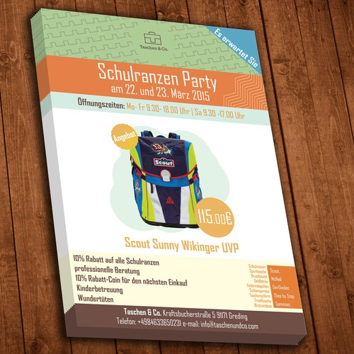 Create a flyer for a satchel paty (Schulranzenparty)