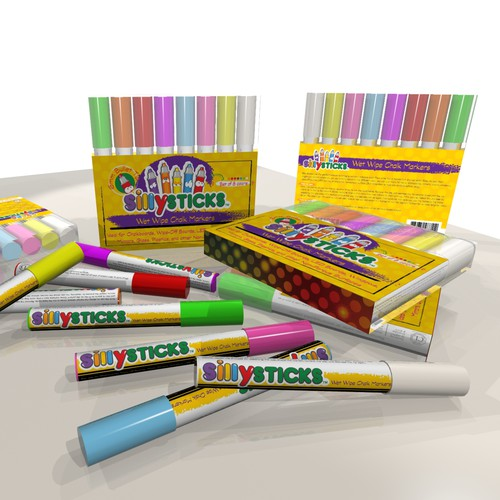 Create a playful and fun package for our chalk markers Silly Sitcks