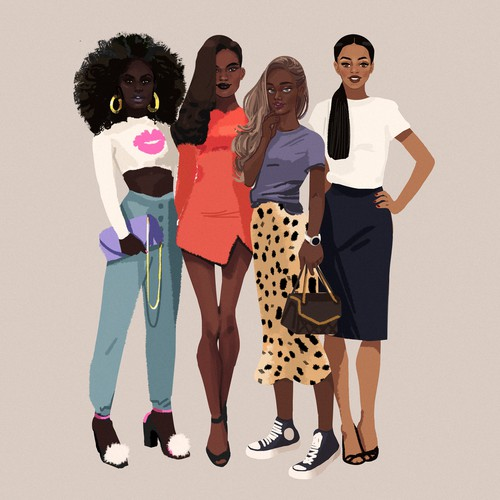 Illustration of Black Female Group of Friend