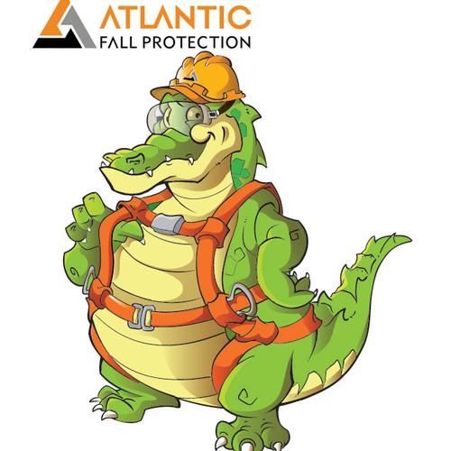 Create an alligator cartoon character for Atlantic Fall Protection!