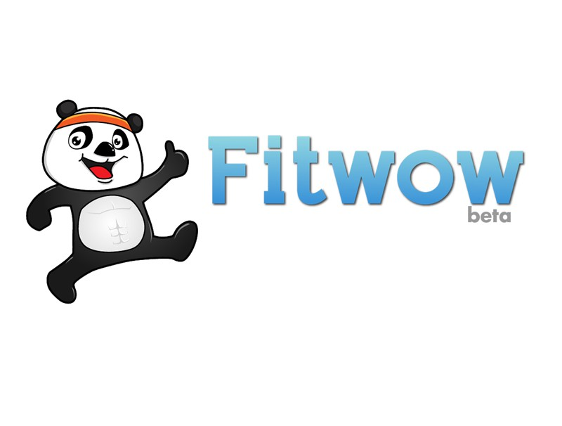 Web2.0 style logo wanted: a site helping people reach fitness goal w/ professional trainers at Fitwow.com, mascot is skinny pand