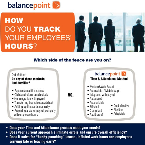 Create a winning Time & Attendance One Pager for Balance Point Payroll