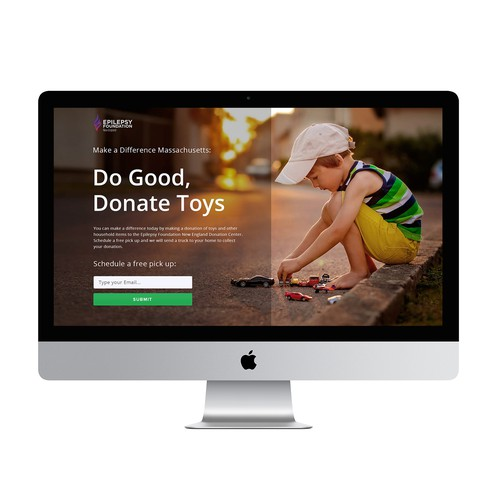 Landing page for a non-profit organization
