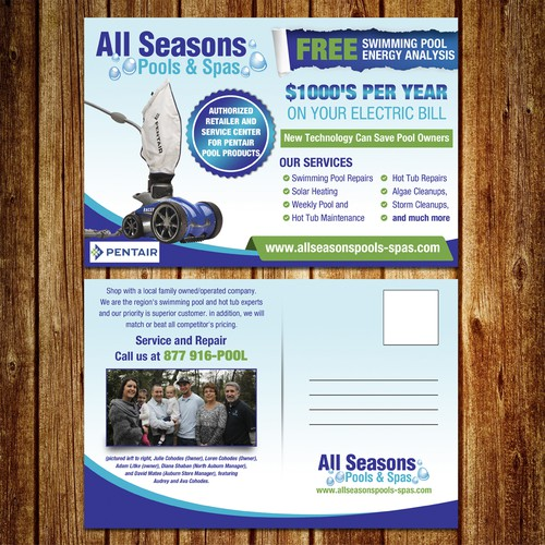 Pstcard for All seasons pools & spas