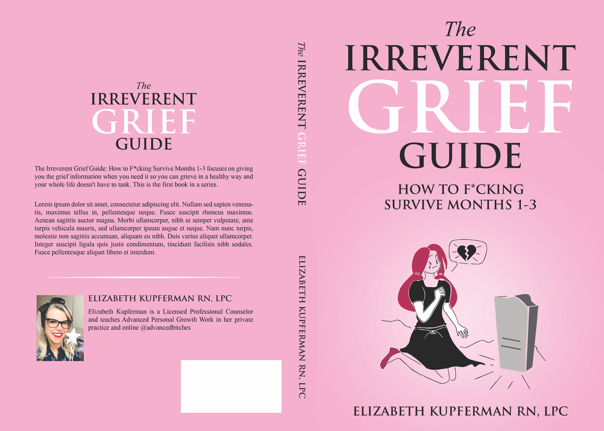 Eye catching book cover for a very irreverent book on surviving grief