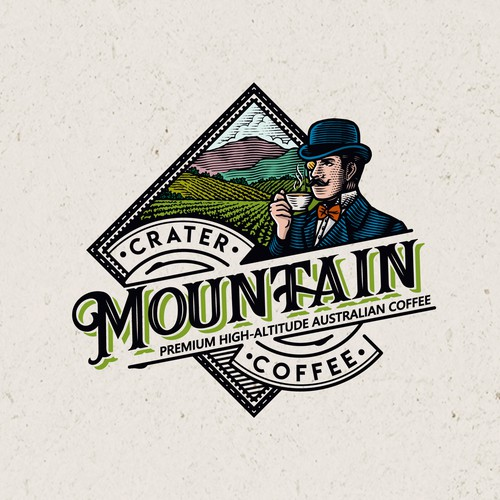 Vintage brand for Australia's first high altitude coffee.