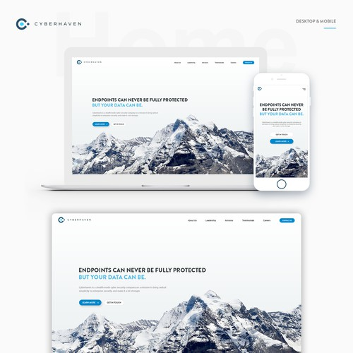 Cybehaven website landing page