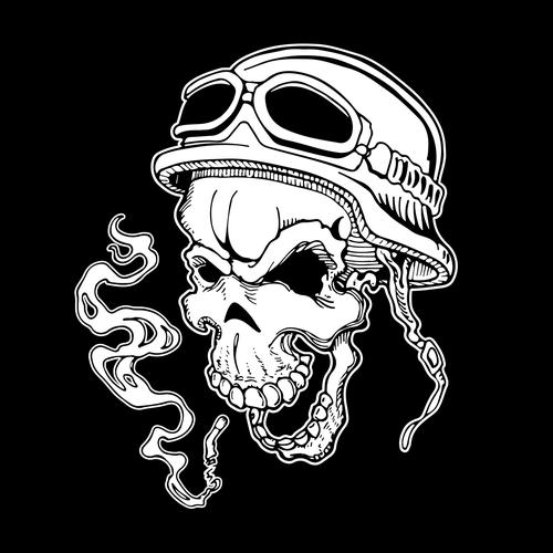 Biker skull smoking.