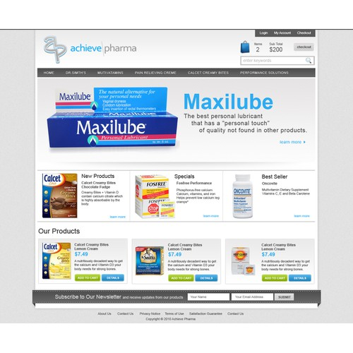 Website Design for Ecommerce Business - Pharmaceutical Company