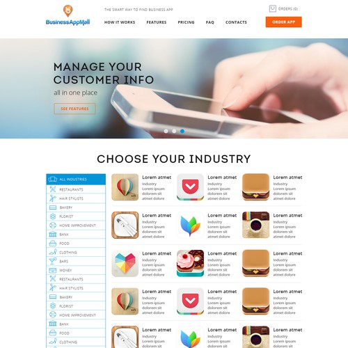Create a website to promote mobile apps for business owners