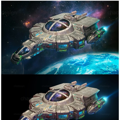 Realistic version of existing spaceship illustration