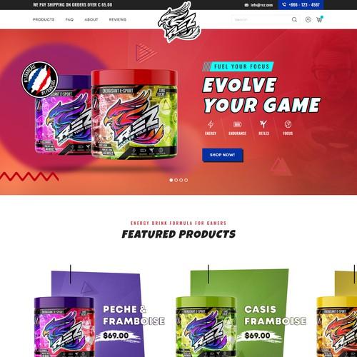 Website design / Energy Powder For Gamers (E-sport market)