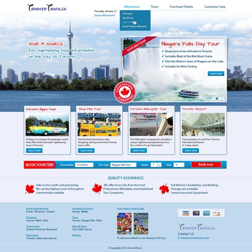 Webdesign for Toronto Tours