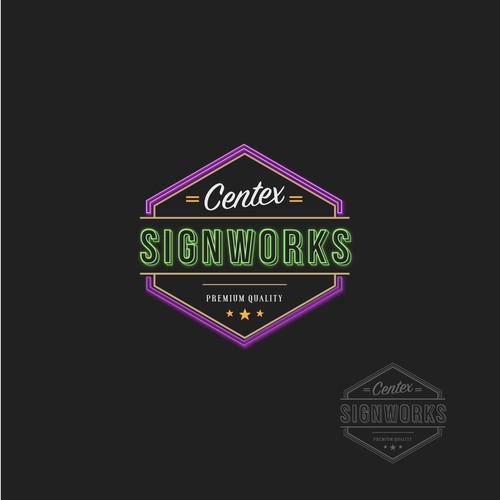Neon style sign company logo