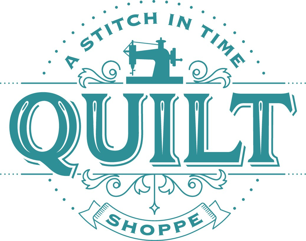 Vintage Quilting logo with a play on time.