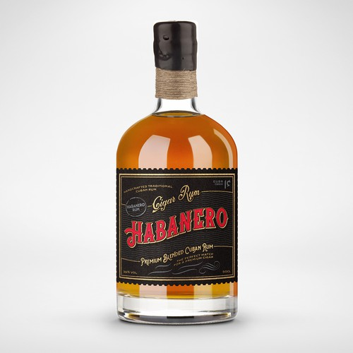 Elegant label for a Cuban Cigar Rum