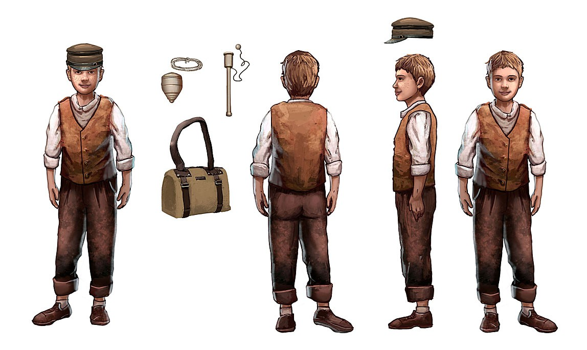 Illustrations of an action figure of a 10 year old boy from the 1850s living in the U.S