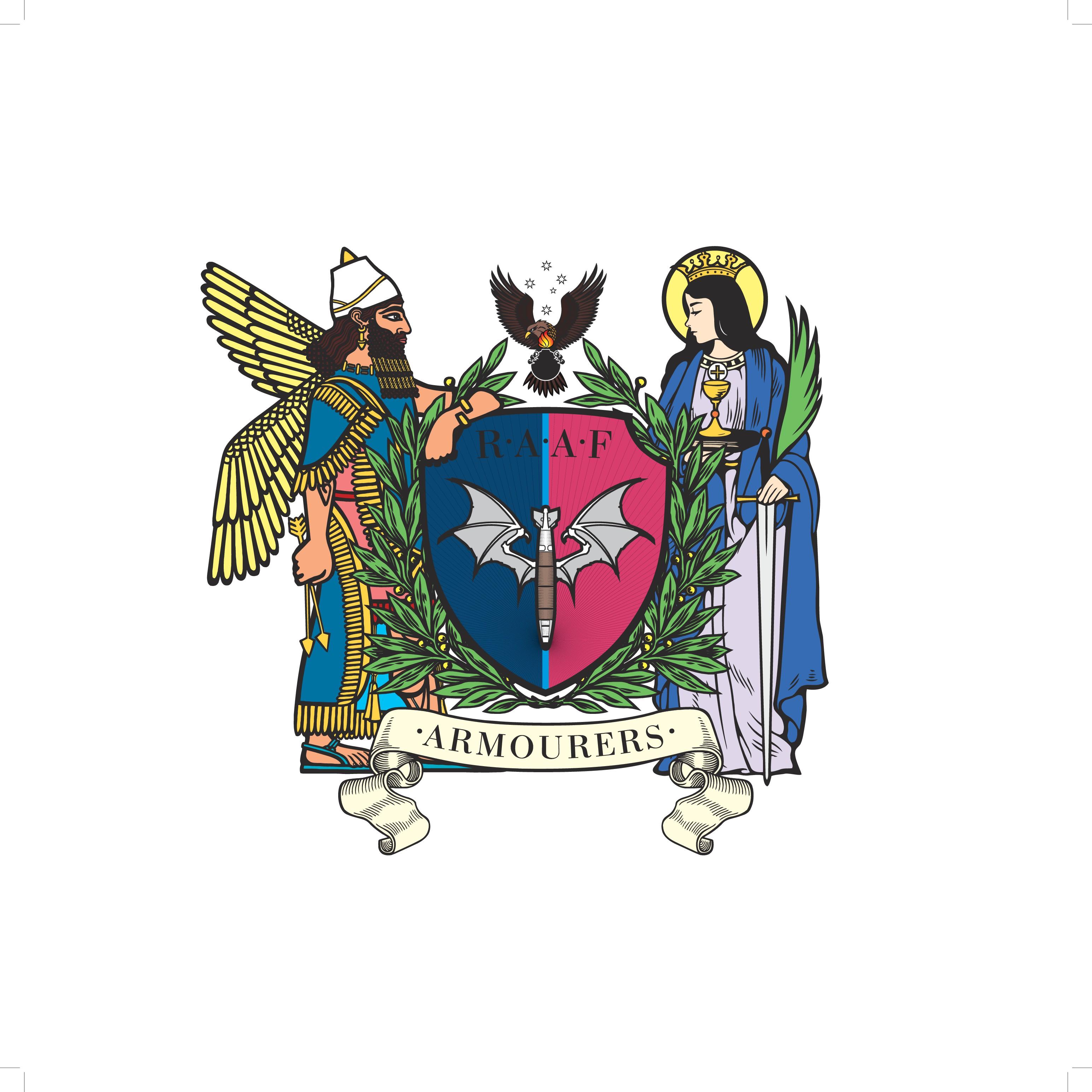 Design a military crest for the Australian Armourer's flag