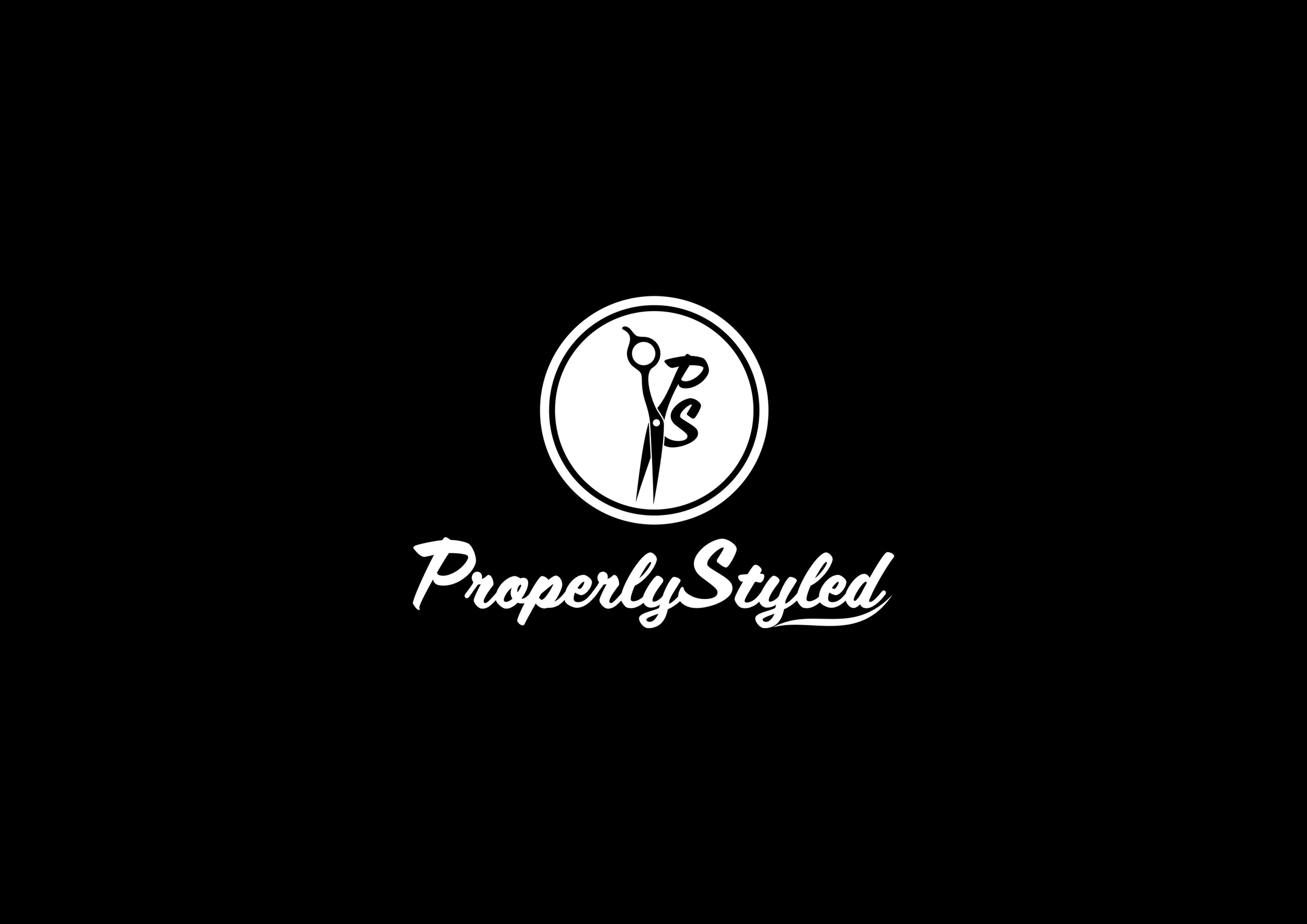 "Design a fun and modern logo for  a new salon management service called ""Properly Styled"""