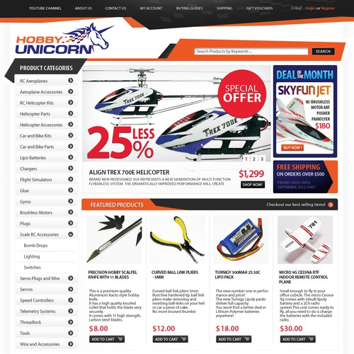 Hobby Unicorn - Design a cutting edge eCommerce site.