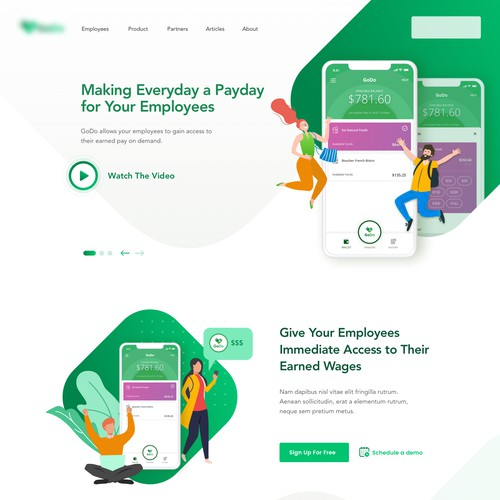 Landing page concept for a mobile application