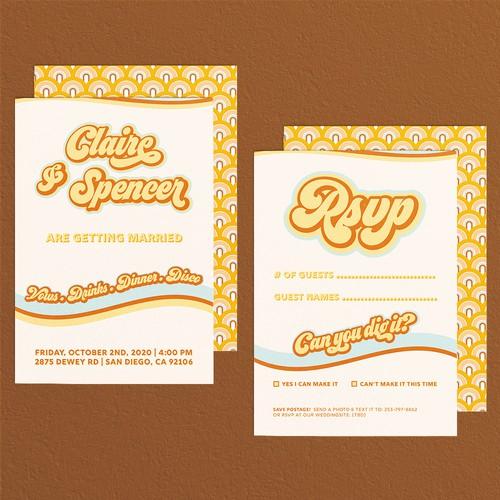 Seventies wedding invitation
