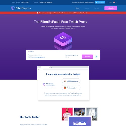 Vpn and proxy landing page