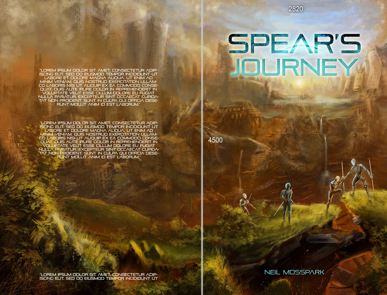 Create a Scifi/Fantasy scene for an post apocalyptic Artificial Intelligence book cover
